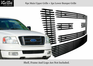 Fits 2004-2005 Ford F-150 Bar Style Model Stainless Black Billet Grille Combo
