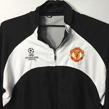 Manchester United UEFA Champions League Jacket Black White Mens Large Vented