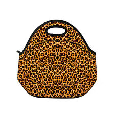 Leopard Print Soft Insulated Cooler Lunch Bag Picnic Tote Storage Pouch Handbag