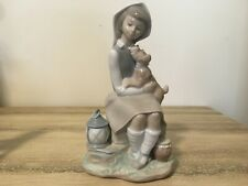 Lladro Girl Sitting With Terrier Like Dog Lantern and Honey (Miel) Pot #4910