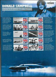 """COMMEMORATIVE SHEETS """"DONALD CAMPBELL"""" AS ISSUED UM MNH  FREE POST"""