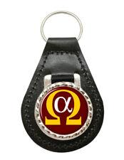 Alpha Omega Enclosed Leather Key Fob