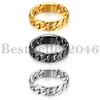 Heavy Wide Mens Stainless Steel 20mm Cuban Curb Link Biker Chain Bracelet 8.7""