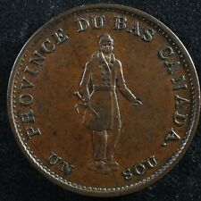 LC-8D1 Halfpenny token Un sou 1837 Lower Bas Canada Bank of Montreal Breton 522