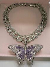 purple bling Butterfly cuban choker