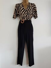 a1fcb4530c5 NEW Ex Wallis 8-20 Cold Shoulder Black   Beige Wrap Front Jumpsuit Animal  Print