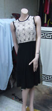 Max Mara Italy Beautiful Eve Dress Black Skirt Beige Mesh Top Flowers & Diamante