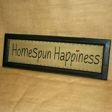 Homespun Happiness Embroidered Stitchery Wall Hanging Country Home Decor