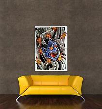 Poster Imprimé Peinture culturel point Démon Japonais diable ONI Tattoo seb751