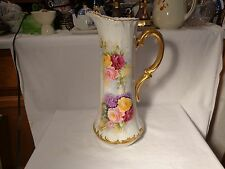 """TRESSEMANN & VOGT LIMOGES HP PINK YELLOW RED ROSES LILAC GOLD 15 1/2"""" TANKARD-NR"""