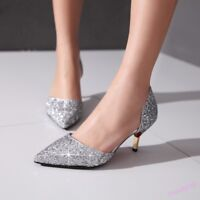 Women's Glitter Kitten Heel Pointed Toe Wedding Party Shoes Bling Bling Pumps