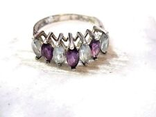 Topaz Blue Purple Marquise Size 8.25 Channel Set Sterling Silver Ring Amethyst