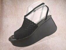 Vtg 90s Y2K Mudd Black Chunky Platform Club Rave Goth Woven Slide Sandals Us 6.5