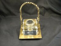 Antique Victorian Crystal Inkwell Fancy Metal Faceted