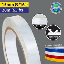 """SILVER WHITE Reflective Conspicuity PinStripe Vinyl Tape 15mm 9/16"""" 20m 65ft"""