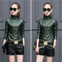 Women Faux Leather Solid Turtleneck Long Sleeve Casual Basic Shirts Blouse Tops