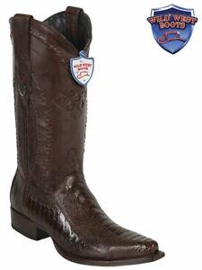 Men's Wild West Boots 2940507 Ostrich Leg Snip Toe Brown
