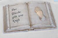 766588 - 2 Grabdeko Buch 20x14cm aus Kunststein von Hand gefertigt NEU