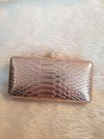 La Regale Evening Bag gold snakeskin Long Chain strap / clutch eve party sparkle