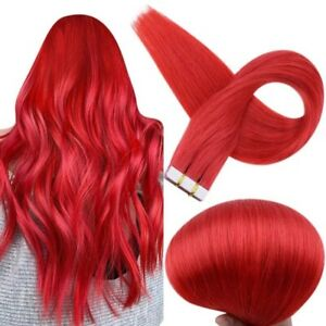 Full Shine Tape in Hair Extensions Red Color Remy Human Hair Seamless Extensions