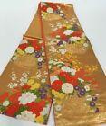 #4 JAPANESE Antique Vintage Premium FUKURO OBI Silk kimono Color/Gold F/S