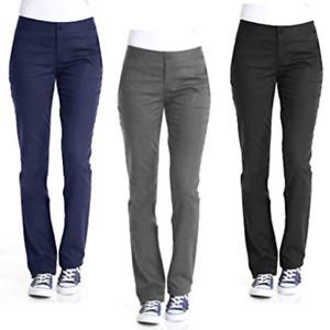Girls School Uniform Trouser Slim Fit Half Elasticated Waist Back to School UK
