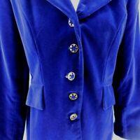 Gantos Ladies Solid Purple Velvet Long Fully Lined Vintage Blazer Jacket Size 8
