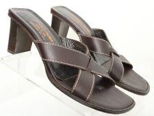 Donald J Pliner Vone Italy Criss Cross Brown Heel Slides Sandals Women's US 7.5M