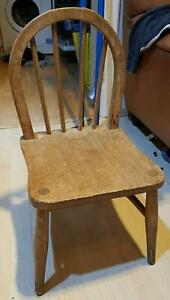 Vintage Rare Farmhouse Wooden Child's Windsor high chair 60's 70's Shabby Chic