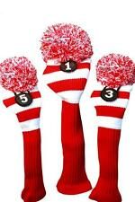 1 3 5 Majek RED WHITE Pom Pom golf clubs Headcover Head covers Set reds colors
