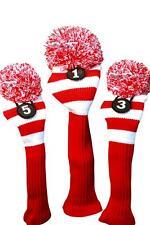 1 3 5 Majek RED WHITE Pom Pom golf clubs Headcover Head covers Set reds colors