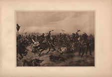 ANTIQUE MILITARY PRINT ~ BATTLE OF AGINCOURT 1415 ~ SALADE GOTHIC ARMOUR ARMS