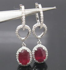 Solid 14Kt White Gold Natural Blood Ruby VS Diamond Drop Earrings Free Shipping