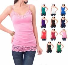 Solid Casual Long Cami Top with Wide Lace Trim S ~ L