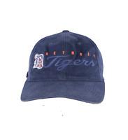 Vintage 90s Detroit Tigers MLB Baseball Script Spell Out Strapback Hat Cap Blue