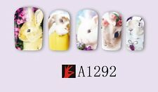 Nail Art Water Decals Stickers Transfers Wraps Easter Bunny Rabbits Kawaii A1292