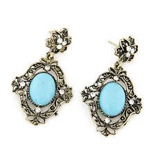 Damen Ohrringe Ohrhänger Blau Statement Antik Bronze Farbe Strass Kristall NEU