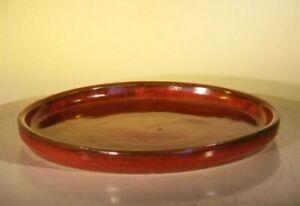 "Round Plant Drip Tray Parisian Red Ceramic for Bonsai Tree 8"" x 1"" 1.6 lbs"
