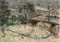 GARDENS LANDSCAPE Watercolour Painting c1950