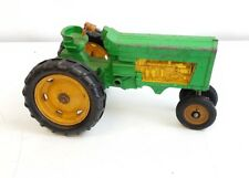 Vintage Hubley Green and yellow Diecast Metal Farm Toy Tractor
