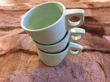 3 Vintage Boontonware 1201-8 Melmac Melamine Mint Green Coffee Mugs Cups