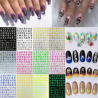 12pcs Nail Art Water Decals Transfer Stickers Self-Adhesive Letter Manicure Tips