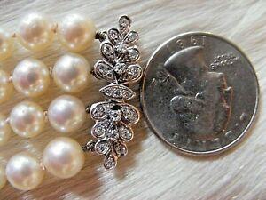 18k White Gold Quad Multi Strand Pearl Bracelet Huge Diamond Flower Floral Clasp