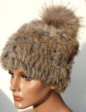 PELZ MÜTZE STRICK Fuchs Bommel Seefuchs Winter Mode Trend Kanin Hase Braun