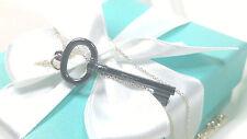 "NEW Tiffany & Co. Oval Black Titanium Key Charm Pendant 18"" Necklace Silver 925"