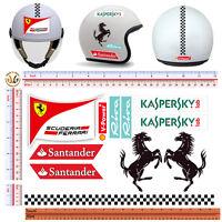 Adesivi casco replica ferrari sticker helmet sontornati tuning print pvc 11 pz.