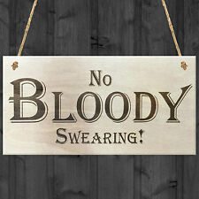 No Bloody Swearing Novelty Wooden Hanging Plaque Gift Sign Funny Joke Present