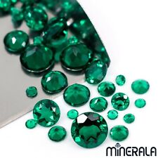 LAB GROWN ZAMBIA EMERALDS FACETED ROUND LOOSE GEMSTONE VARIOUS SIZES WP02730