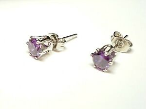Purple Amethyst Round White Gold Plated 5mm Stud Earrings