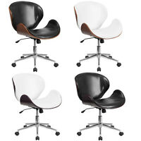 Mid-Century Office Desk Chair Bent Curved Walnut Mahogany Black White Leather*
